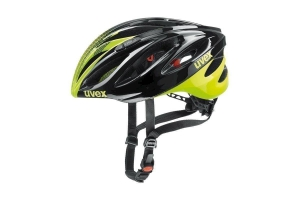 18 UVEX HELMA BOSS RACE, BLACK-NEON YELLOW 52-56